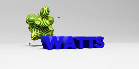 WATTS -  color type on white studiobackground with design element - 3D rendered royalty free stock picture. This image can be used for an online website banner ad or a print postcard.