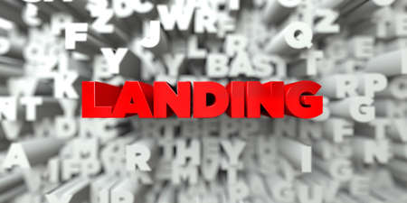 LANDING -  Red text on typography background - 3D rendered royalty free stock image. This image can be used for an online website banner ad or a print postcard.