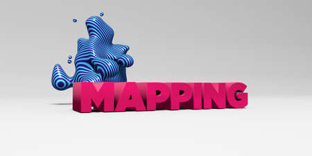 MAPPING -  color type on white studiobackground with design element - 3D rendered royalty free stock picture. This image can be used for an online website banner ad or a print postcard.