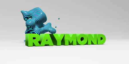 RAYMOND -  color type on white studiobackground with design element - 3D rendered royalty free stock picture. This image can be used for an online website banner ad or a print postcard. Stock Photo