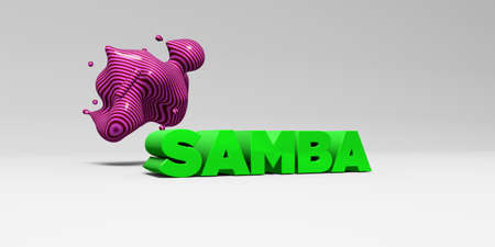 SAMBA -  color type on white studiobackground with design element - 3D rendered royalty free stock picture. This image can be used for an online website banner ad or a print postcard.