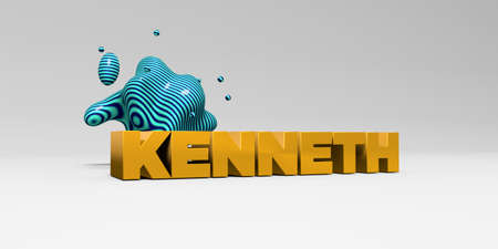 KENNETH -  color type on white studiobackground with design element - 3D rendered royalty free stock picture. This image can be used for an online website banner ad or a print postcard.