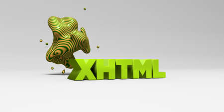 XHTML -  color type on white studiobackground with design element - 3D rendered royalty free stock picture. This image can be used for an online website banner ad or a print postcard. Stock Photo