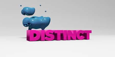 distinct: DISTINCT -  color type on white studiobackground with design element - 3D rendered royalty free stock picture. This image can be used for an online website banner ad or a print postcard.