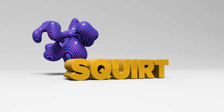 squirt: SQUIRT -  color type on white studiobackground with design element - 3D rendered royalty free stock picture. This image can be used for an online website banner ad or a print postcard. Stock Photo