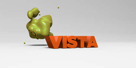 stock vista: VISTA -  color type on white studiobackground with design element - 3D rendered royalty free stock picture. This image can be used for an online website banner ad or a print postcard. Stock Photo