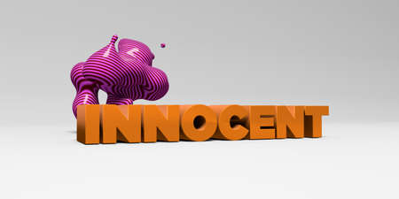 innocent: INNOCENT -  color type on white studiobackground with design element - 3D rendered royalty free stock picture. This image can be used for an online website banner ad or a print postcard.