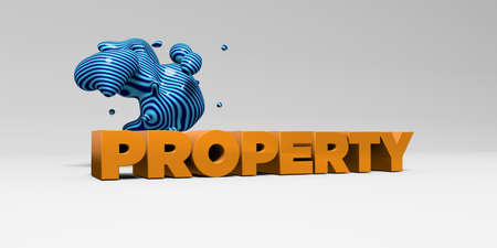 PROPERTY -  color type on white studiobackground with design element - 3D rendered royalty free stock picture. This image can be used for an online website banner ad or a print postcard. Stock Photo
