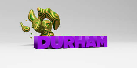 durham: DURHAM -  color type on white studiobackground with design element - 3D rendered royalty free stock picture. This image can be used for an online website banner ad or a print postcard.