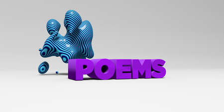 poems: POEMS -  color type on white studiobackground with design element - 3D rendered royalty free stock picture. This image can be used for an online website banner ad or a print postcard. Stock Photo