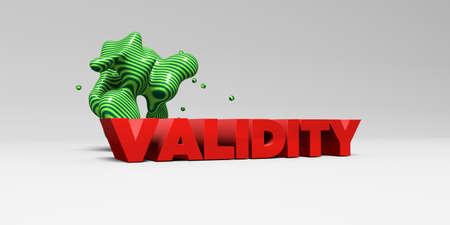 validez: VALIDEZ - Tipo de color en studiobackground blanco con elementos de diseño - 3D representa la imagen de stock libre de derechos. Esta imagen se puede utilizar para un anuncio bandera del Web site en línea o una postal de impresión.