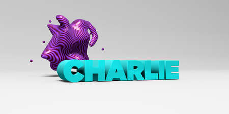 charlie: CHARLIE -  color type on white studiobackground with design element - 3D rendered royalty free stock picture. This image can be used for an online website banner ad or a print postcard.