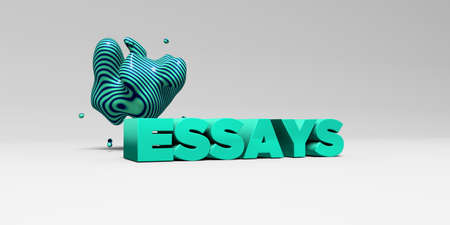 essays: ESSAYS -  color type on white studiobackground with design element - 3D rendered royalty free stock picture. This image can be used for an online website banner ad or a print postcard.