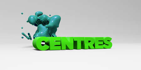 centres: CENTRES -  color type on white studiobackground with design element - 3D rendered royalty free stock picture. This image can be used for an online website banner ad or a print postcard. Stock Photo