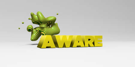 AWARE -  color type on white studiobackground with design element - 3D rendered royalty free stock picture. This image can be used for an online website banner ad or a print postcard. Stock Photo