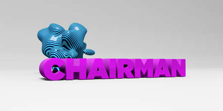 CHAIRMAN -  color type on white studiobackground with design element - 3D rendered royalty free stock picture. This image can be used for an online website banner ad or a print postcard.
