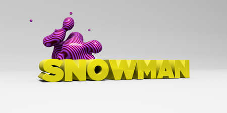 SNOWMAN -  color type on white studiobackground with design element - 3D rendered royalty free stock picture. This image can be used for an online website banner ad or a print postcard.
