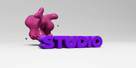 STUDIO -  color type on white studiobackground with design element - 3D rendered royalty free stock picture. This image can be used for an online website banner ad or a print postcard.