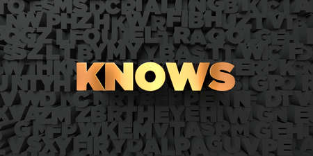 knows: Knows - Gold text on black background - 3D rendered royalty free stock picture. This image can be used for an online website banner ad or a print postcard.
