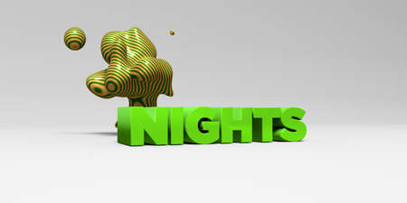 nights: NIGHTS -  color type on white studiobackground with design element - 3D rendered royalty free stock picture. This image can be used for an online website banner ad or a print postcard.