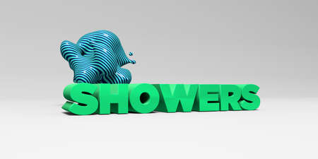 SHOWERS -  color type on white studiobackground with design element - 3D rendered royalty free stock picture. This image can be used for an online website banner ad or a print postcard.