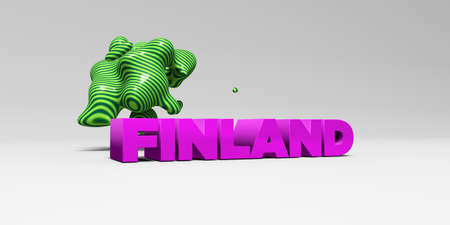 FINLAND -  color type on white studiobackground with design element - 3D rendered royalty free stock picture. This image can be used for an online website banner ad or a print postcard. Stock Photo