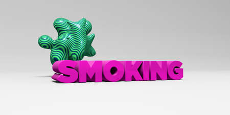 SMOKING -  color type on white studiobackground with design element - 3D rendered royalty free stock picture. This image can be used for an online website banner ad or a print postcard. Imagens
