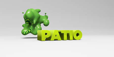 patio: PATIO -  color type on white studiobackground with design element - 3D rendered royalty free stock picture. This image can be used for an online website banner ad or a print postcard.