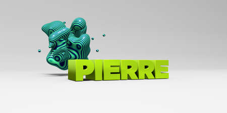 PIERRE -  color type on white studiobackground with design element - 3D rendered royalty free stock picture. This image can be used for an online website banner ad or a print postcard.