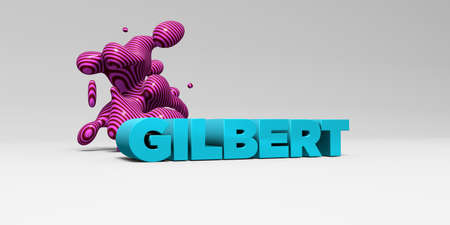 gilbert: GILBERT -  color type on white studiobackground with design element - 3D rendered royalty free stock picture. This image can be used for an online website banner ad or a print postcard.