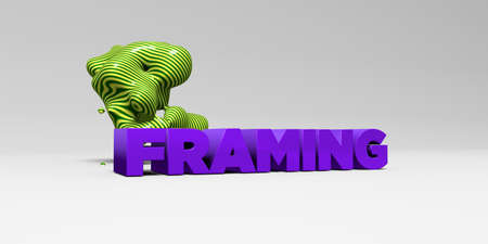 picture framing: FRAMING -  color type on white studiobackground with design element - 3D rendered royalty free stock picture. This image can be used for an online website banner ad or a print postcard.