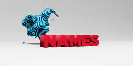 NAMES -  color type on white studiobackground with design element - 3D rendered royalty free stock picture. This image can be used for an online website banner ad or a print postcard.