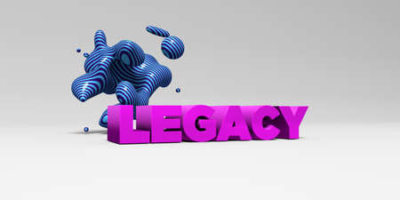legacy: LEGACY -  color type on white studiobackground with design element - 3D rendered royalty free stock picture. This image can be used for an online website banner ad or a print postcard.