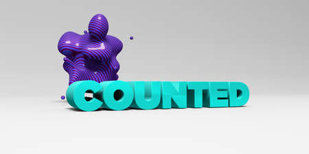counted: COUNTED -  color type on white studiobackground with design element - 3D rendered royalty free stock picture. This image can be used for an online website banner ad or a print postcard. Stock Photo