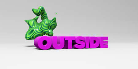 OUTSIDE -  color type on white studiobackground with design element - 3D rendered royalty free stock picture. This image can be used for an online website banner ad or a print postcard. Stock Photo
