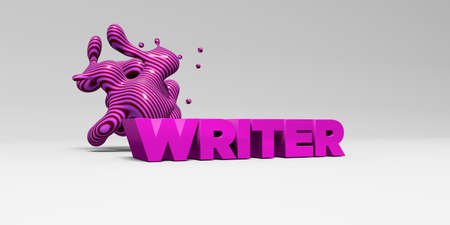 type writer: WRITER -  color type on white studiobackground with design element - 3D rendered royalty free stock picture. This image can be used for an online website banner ad or a print postcard. Stock Photo