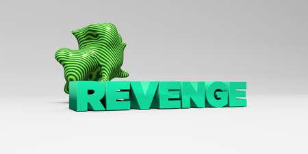 venganza: Tipo de color en studiobackground blanco con elementos de diseño - - VENGANZA 3D representa la imagen de stock libre de derechos. Esta imagen se puede utilizar para un anuncio bandera del Web site en línea o una postal de impresión. Foto de archivo