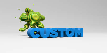 custom letters: CUSTOM -  color type on white studiobackground with design element - 3D rendered royalty free stock picture. This image can be used for an online website banner ad or a print postcard. Stock Photo