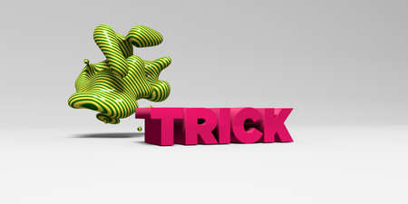 TRICK -  color type on white studiobackground with design element - 3D rendered royalty free stock picture. This image can be used for an online website banner ad or a print postcard.
