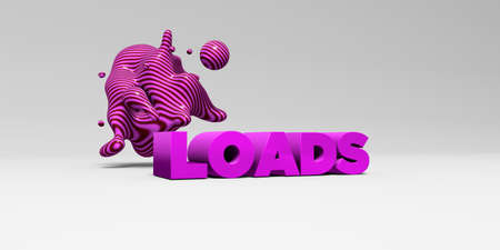 LOADS -  color type on white studiobackground with design element - 3D rendered royalty free stock picture. This image can be used for an online website banner ad or a print postcard.