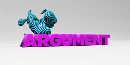 argument: ARGUMENT -  color type on white studiobackground with design element - 3D rendered royalty free stock picture. This image can be used for an online website banner ad or a print postcard.