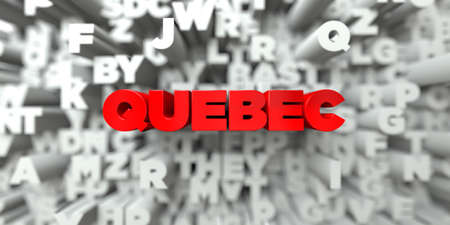 quebec: QUEBEC -  Red text on typography background - 3D rendered royalty free stock image. This image can be used for an online website banner ad or a print postcard.