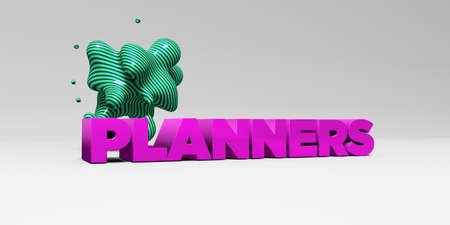 planners: PLANNERS -  color type on white studiobackground with design element - 3D rendered royalty free stock picture. This image can be used for an online website banner ad or a print postcard. Stock Photo