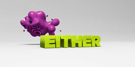 EITHER -  color type on white studiobackground with design element - 3D rendered royalty free stock picture. This image can be used for an online website banner ad or a print postcard. Stock Photo