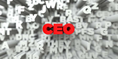 ceo: CEO -  Red text on typography background - 3D rendered royalty free stock image. This image can be used for an online website banner ad or a print postcard.