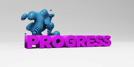 PROGRESS -  color type on white studiobackground with design element - 3D rendered royalty free stock picture. This image can be used for an online website banner ad or a print postcard.
