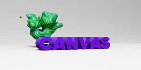 copy text: CANVAS -  color type on white studiobackground with design element - 3D rendered royalty free stock picture. This image can be used for an online website banner ad or a print postcard.