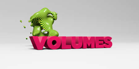 VOLUMES -  color type on white studiobackground with design element - 3D rendered royalty free stock picture. This image can be used for an online website banner ad or a print postcard.