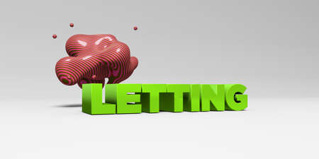 letting: LETTING -  color type on white studiobackground with design element - 3D rendered royalty free stock picture. This image can be used for an online website banner ad or a print postcard.