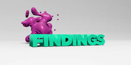 FINDINGS -  color type on white studiobackground with design element - 3D rendered royalty free stock picture. This image can be used for an online website banner ad or a print postcard. Stock Photo